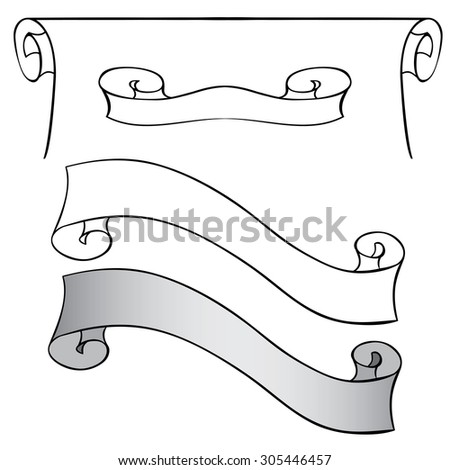 Vector set of scrolls and ribbons. Hand drawing - stock vector