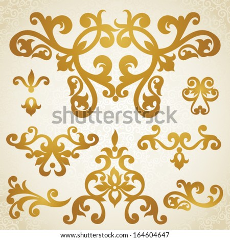 Vector set of scrolls and vignettes in Victorian style. Element for design. It can be used for decorating of wedding invitations, greeting cards, decoration for bags and at tattoo creation. - stock vector