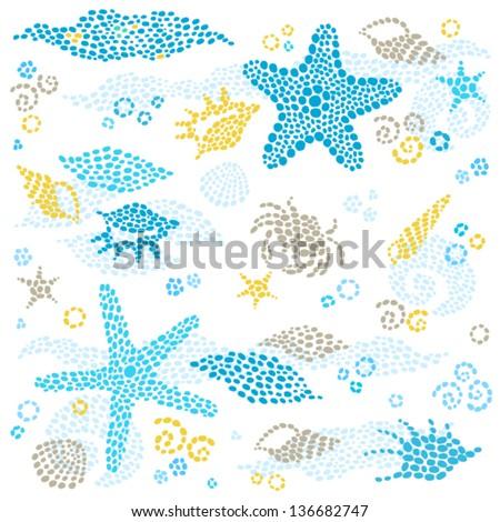 Vector set of sea element and seashells. - stock vector
