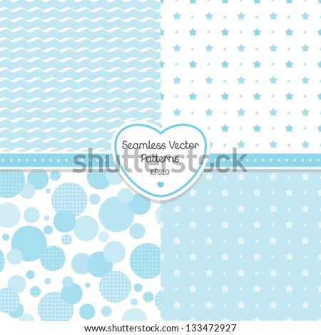 Vector set of 4 seamless blue background patterns. Good for Baby Shower, Birthday, scrapbook, greeting cards, gift wrap, surface textures. See my folio JPEG versions and for related pattern sets. - stock vector