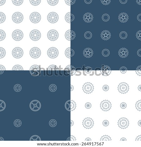 Vector set of seamless gear patterns. Various technical backgrounds of linear gears. - stock vector