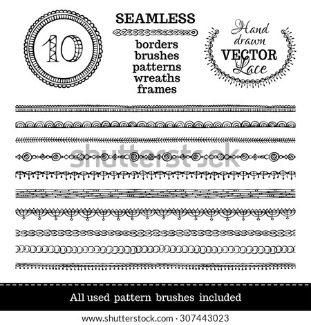 Vector set of seamless hand-drawn ethnic borders. Seamless doodles geometric borders can be used for frames, patterns and wreaths. All used pattern brushes are included in brush palette. - stock vector