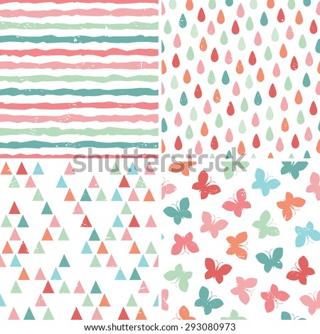 Vector set of seamless hipster backgrounds in bright pastel colors. Rough hand drawn patterns with butterflies, triangles, raindrops and stripes in red, pink, mint green and teal. - stock vector