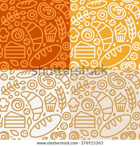 Vector set of seamless patterns and backgrounds with icons in trendy linear style - bakery concepts - design templates for packaging for sweets, cookies - stock vector