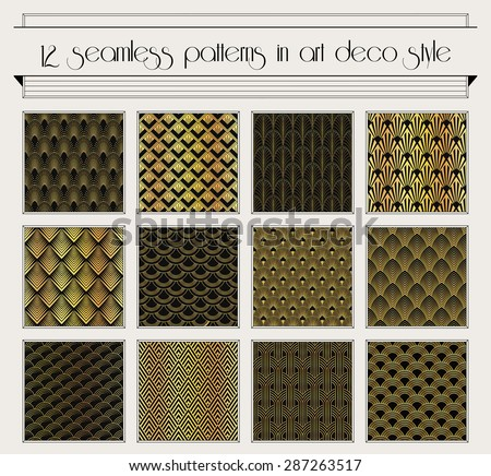 Vector set of seamless patterns in art deco vintage style - stock vector