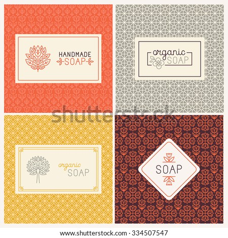 Vector set of seamless patterns, linear labels and mono line logo design templates for hand made soap packaging and wrapping paper - stock vector