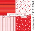 Vector set of 4 seamless red background patterns. Use for Christmas, Valentine's Day, Greeting Cards, Scrapbook, Surface Textures. See my portfolio for alternate color versions and JPEG versions.   - stock vector