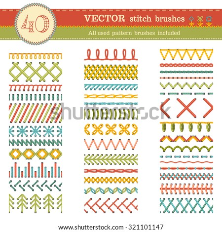 Vector set of seamless stitch brushes. Sewing patterns, seams, borders, page decorations and dividers isolated on white background. All used pattern brushes included. - stock vector