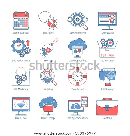 Vector Set Of SEO And Development Thin Line Flat Design Icons And Pictograms.  Web Elements Collection - stock vector