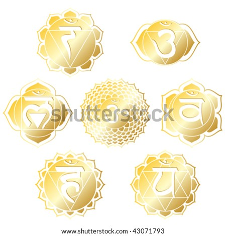 vector set of seven chakras in shiny gold - stock vector