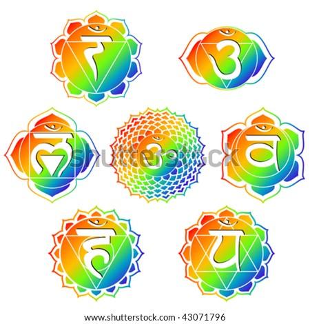 vector set of seven rainbow color chakras - stock vector