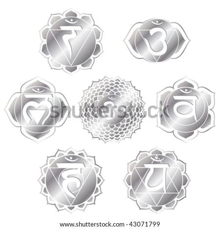 vector set of seven silver chakras - stock vector
