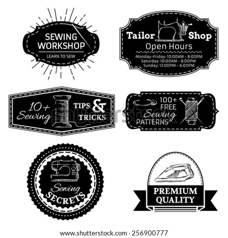 Vector set of sewing linear retro badges, labels, logo templates and frames. Retro simple design elements isolated on white background. - stock vector