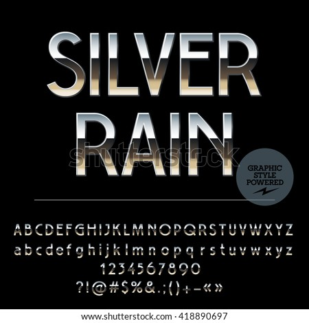 Vector set of shiny silver alphabet letters, numbers and punctuation symbols. Art Deco style - stock vector
