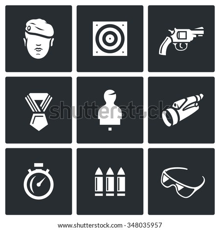 Vector Set of Shooting Range Icons. Soldier, Shoot, Weapon, Award, Mannequin, Observation, Speed, Arsenal, Safety. Warrior, Target, Gun, Order, Binocular, Stopwatch, Ammunition, Glasses. - stock vector
