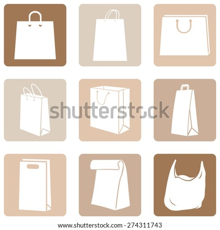 Vector Set of  Shopping Bags Icons - stock vector