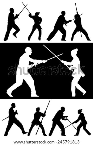 Vector set of silhouettes: Man and woman show Wushu Tao with a stick.  - stock vector