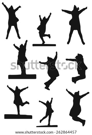 Vector set of silhouettes of a jumping and dancing woman - stock vector