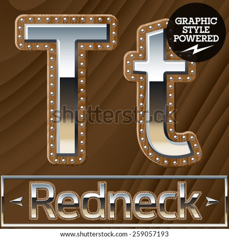 Vector set of silver country style font with wooden rivet border. Letter T - stock vector