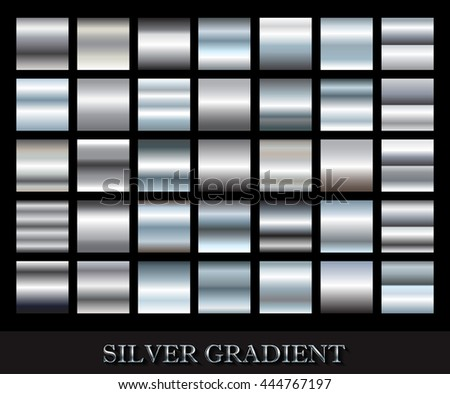 Vector set of silver gradients.Metallic squares collection. - stock vector