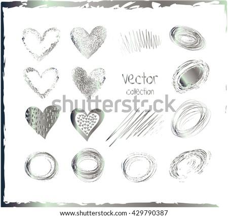 Vector set of silver hearts. Set of metallic heart. Silver heart valentine icon set  - stock vector