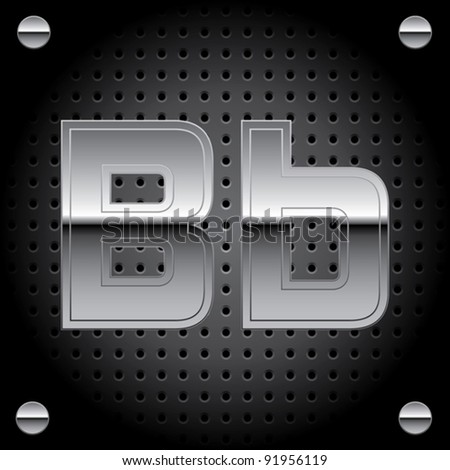 Vector set of silver metal font on metallic perforated background - letter B - stock vector