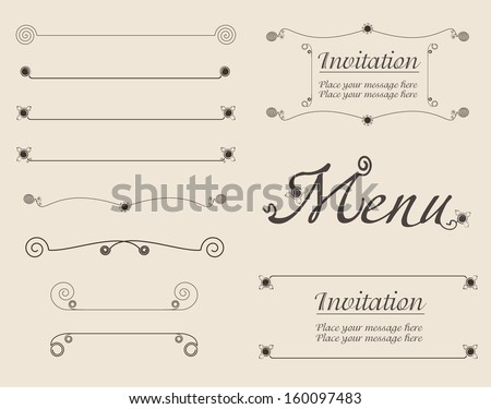 Vector set of simple calligraphic design elements, page dividers and decoration - stock vector