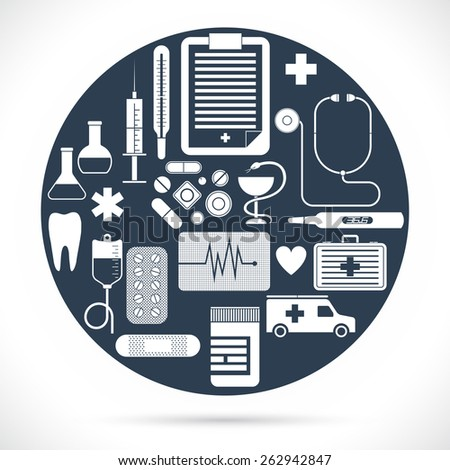 Vector set of simple medical icons and symbols - stock vector