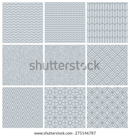 Vector set of simple mono line patterns - abstract backgrounds in trendy linear style  - stock vector