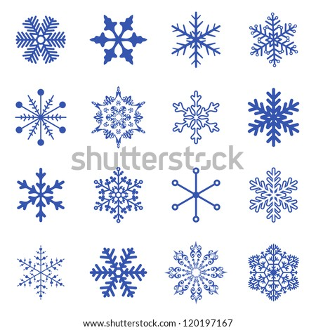 Vector set of simple snowflakes. - stock vector