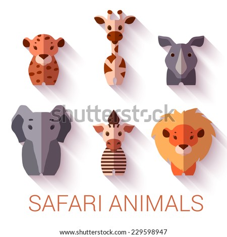 Vector set of six Safari animals on white background. - stock vector