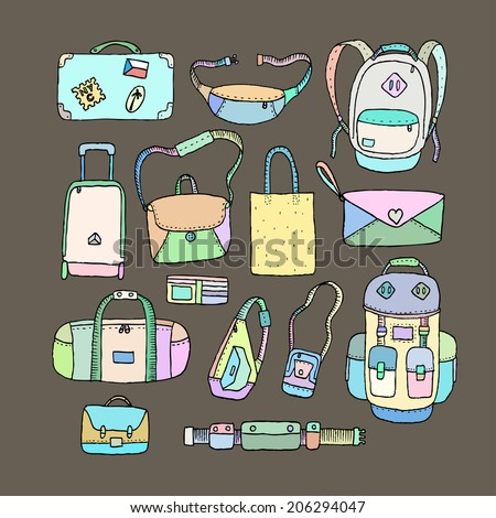 Vector Set of Sketch Bags. Isolated. - stock vector