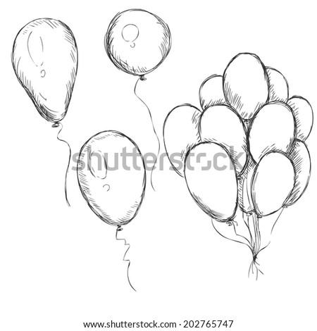 Vector Set of Sketch Balloons - stock vector