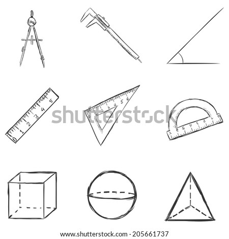 Vector Set of  Sketch  Geometry  Icons - stock vector