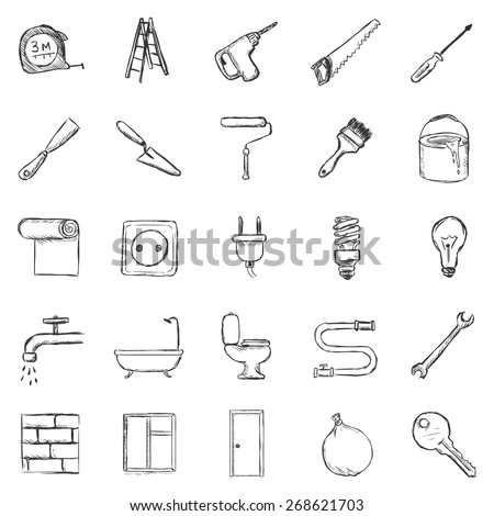Vector Set of Sketch Home Repairing,  Building, Construction and Decoration Icons - stock vector