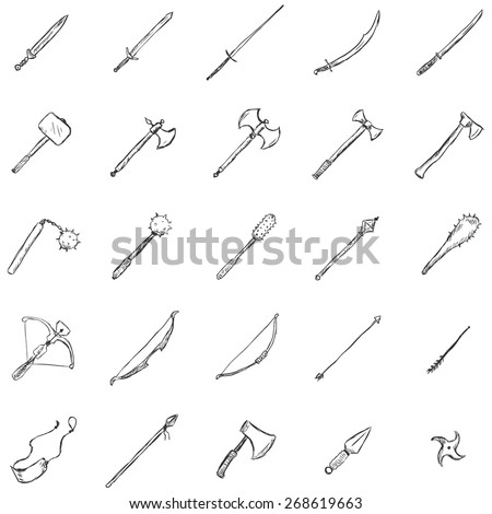 Vector Set of Sketch Medieval Weapon Icons - stock vector