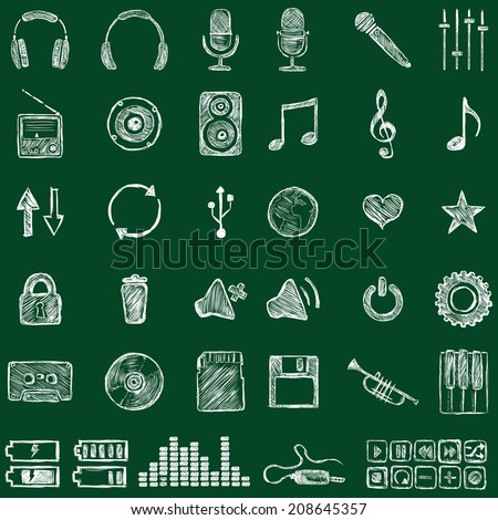 Vector Set of Sketch Music Icons. Chalk on a Blackboard. - stock vector