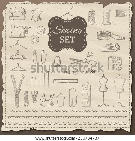 Vector set of sketch sewing elements. Old illustration in sepia. Vintage elements for your design.  - stock vector