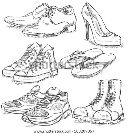 Vector Set of Sketch Shoes - stock vector