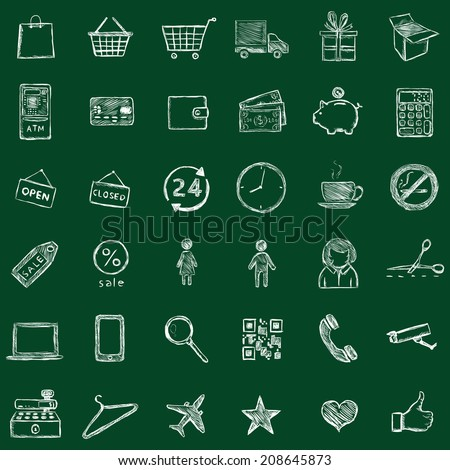Vector Set of Sketch Shopping Icons. Chalk on a Blackboard. - stock vector