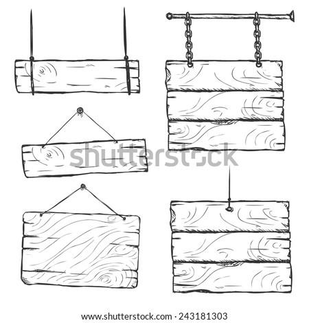 Vector Set of Sketch Signboards - stock vector