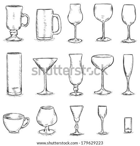 Vector Set of Sketch Stemware - stock vector