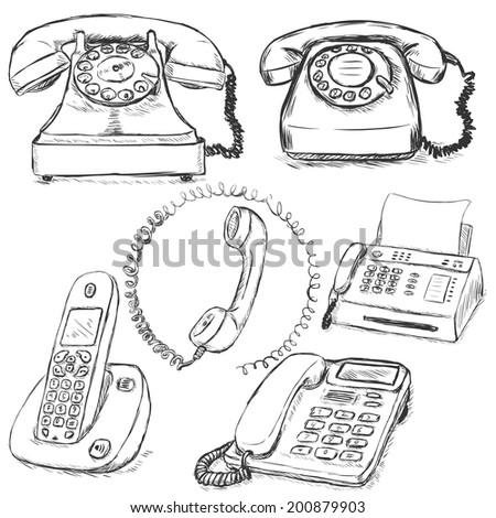 Vector Set of Sketch Telephones - stock vector