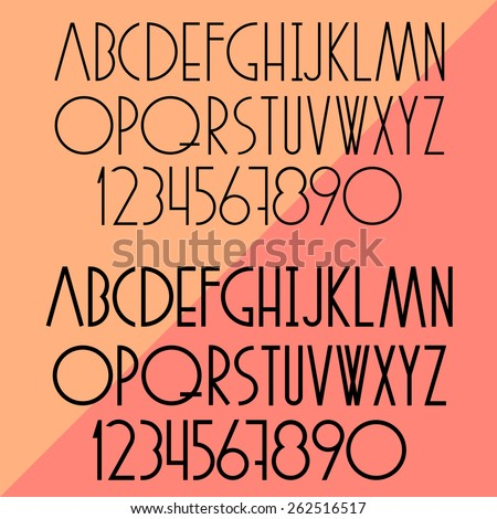 Vector set of slim alphabet and numbers - stock vector