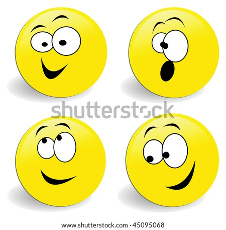 vector set of 4 smiley faces with white eyes - stock vector
