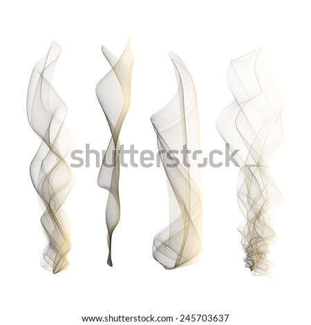 Vector set of smoke effect smooth flame background isolated wallpaper - stock vector