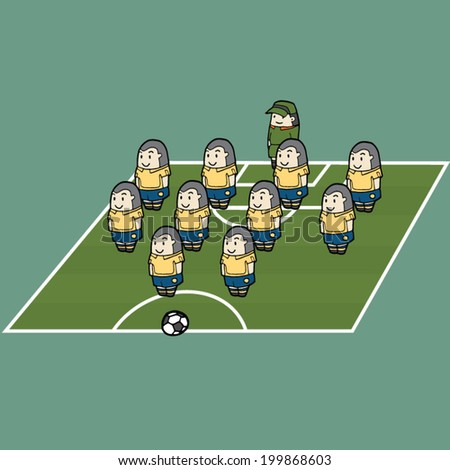 vector set of soccer strategy formation - stock vector