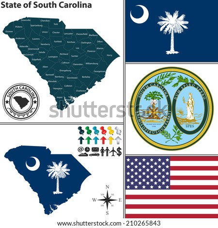 Vector set of South Carolina state with flag and seal - stock vector