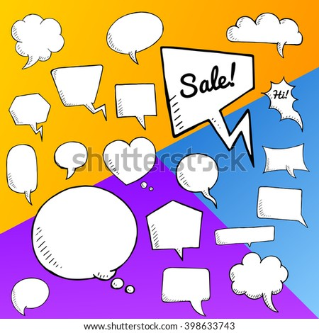 Vector set of speech bubbles, group of doodle speech buble on colorful background - stock vector