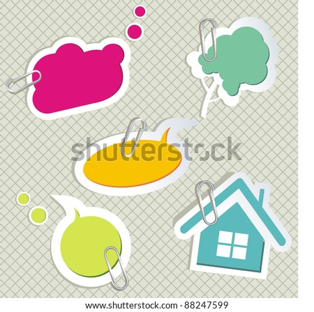 vector set of speech bubbles & scrapbook elements - stock vector